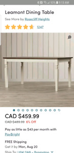 Wayfair Table, Dining Bench and Chairs