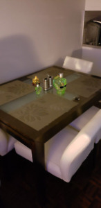 Dark wood table with 4 chairs for sale