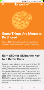 [$50+$30] Tangerine bank sign up bonus + e-transfer