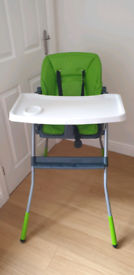 Chicco high chair with 3 steps incline and tray