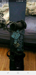 K2 snow board with flux bindings and burton snow board boots