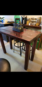Rustic pub style table mahogany 38high 22wide and 46 long