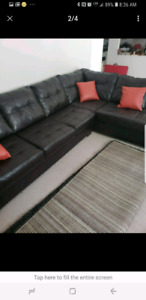 """L Shape Leather Couch 7ftx10ftx30"""" + 3 Leather Pillows"""