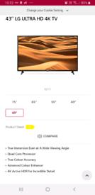 """LG 43"""" HD 4K TV"""