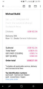 2 Tickets for An Evening with Michael Bublé