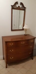 Antique Dresser with Mirror and Lamp