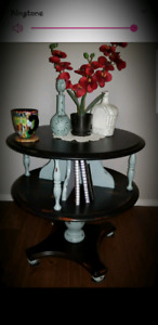 Two tier solid wood end table or accent table