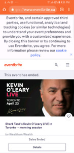 Shark tank Kevin O'Leary live 5pm 2x$10 tickets