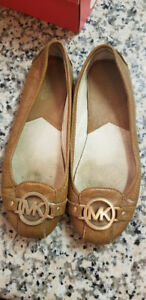 Michael Kors MK Fulton Brown Leather Flats - size 7.5