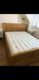 Oak bed and Kingsize mattress