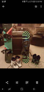 Snowboards boots and bindings