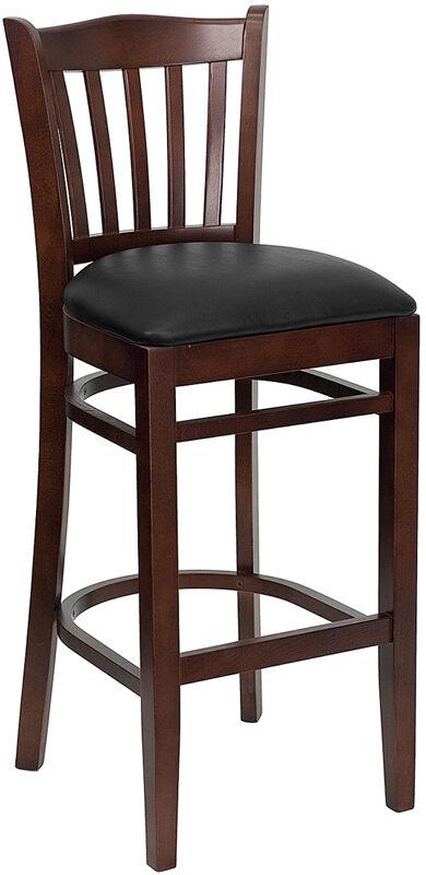 Mahogany Wood Finish Vertical Slat Back Bar Stool With Black Vinyl Seat