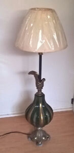 Antique Brass Base with Heavy Green Glass Floor / Table Lamp