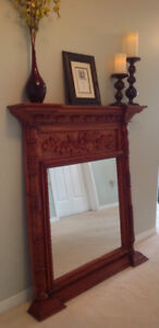 Custom Fireplace/mantle/mirror/solid wood/gas insert - NEW PRICE
