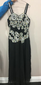 BLACK AND SILVER GRAD DRESS/ PROM DRESS WITH STONES