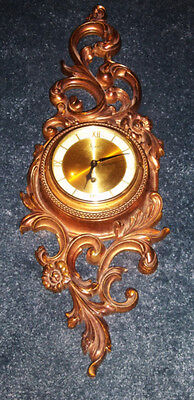 Mid Century SYROCCO WOOD wall clock 8 day jeweled Gold Hollywood Regency Working