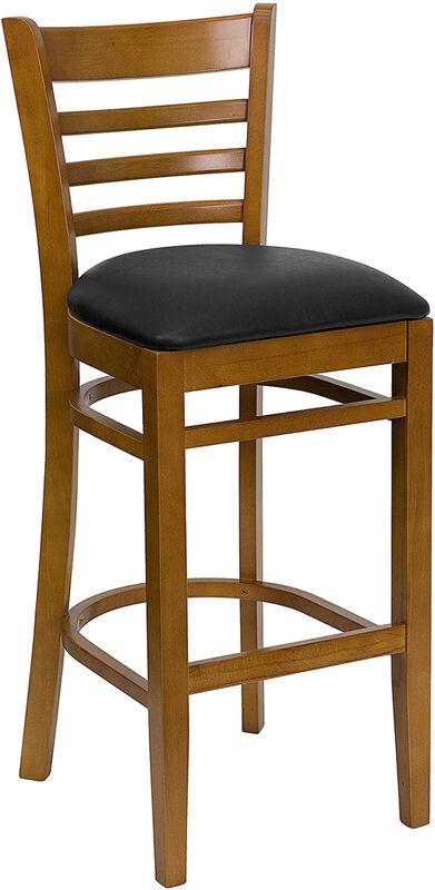 Cherry Wood Finish Ladder Back Bar Stool With Black Vinyl Seat