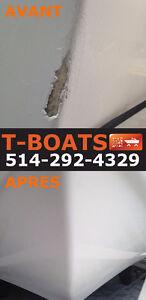 Réparation fibre de verre et gelcoat sur bateau et VR