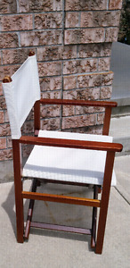 Stylish Brown and White Folding Director Chair