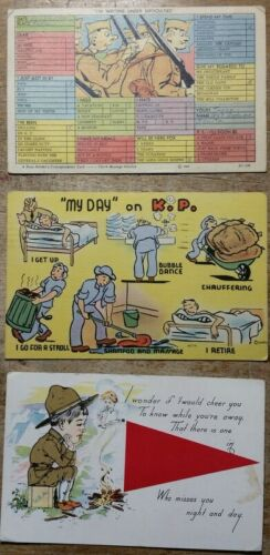 American WWII Post Cards Writing Under Difficulties My Day on KP Who Misses You
