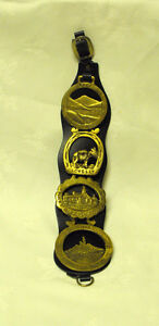 Set of 4 Vintage Horse Brasses on Leather Strap, And One Single