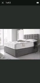 Bed. Unused. Double Divan, greyq