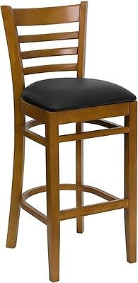 Cherry Wood Finished Ladder Back Restaurant Bar Stool With Black Vinyl Seat