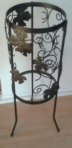 Vintage Wrought Iron Flower Pot Holder with Grape Vine
