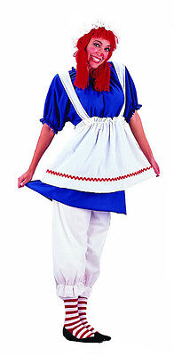 Rag Doll Raggedy Ann Fancy Dress Up Halloween Deluxe Adult Costume