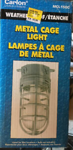 Metal cage light with bulb