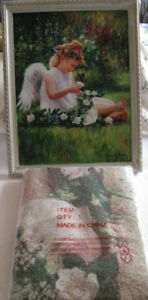 Little Girl Angel Tapestry Throw & Matching Wall Picture 2PC NEW