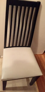 *2 Black Wood Dining Chairs w/faux leather seats-PRICE REDUCED*
