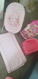 Baby bundle bouncer, clothes, bath seat, shoes, snow suite
