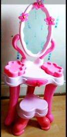 Bright Pink dressing table with stool for little girls