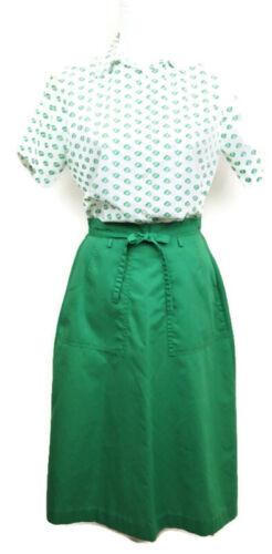 Girl Scout Womens 8 Blouse Shirt Button Front White Logo Small Wrap Skirt Green