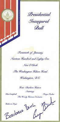 George H W  Bush   Inaugural Ticket Signed Circa 1981 With Co Signers