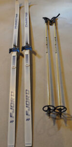CROSS COUNTRY SKIS, POLES, BOOTS