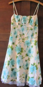 Blue Lined Floral Dress With Built-In Bra