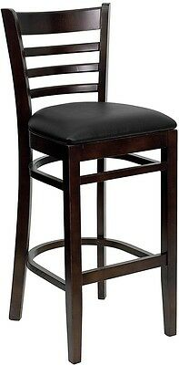 Walnut Finished Ladder Back Wooden Restaurant Bar Stool - Black Vinyl Seat