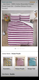 Striped double duvet set . Beand new sealed. One duvet cover two pillo