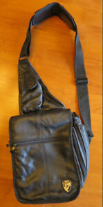 HEYS black leather crossbody bag/purse