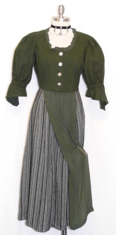COTTON Long DRESS Women Dirndl GERMAN Trachten Waitress Hostess GREEN Dress 8 S