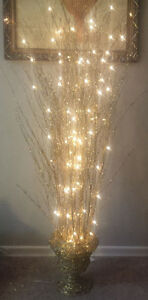 Gorgeous Plug-in, Lightup, Gold Shimmery Lit Sprig Branches Lamp