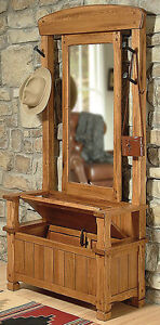 Sedona Rustic Oak Storage Bench Hall Tree With Mirror