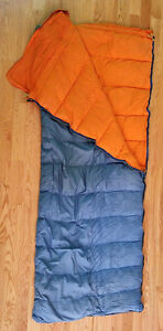 2 blue down-filled sleeping bags with carrying/storage bags