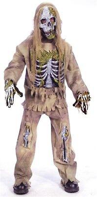SKELETON ZOMBIE COSTUME Boy Large (10-12) 4-Piece Set Fun World Halloween Creepy