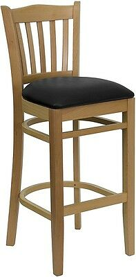 Natural Wood Finished Vertical Slat Back Restaurant Bar Stool With Black Vinyl