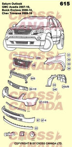 2007-2010 Traverse, Acadia, Enclave, Outlook NEW Body Panels