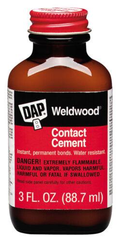 NEW Dap 00107 Weldwood 3oz Bottle of Contact Cement GLUE ADHESIVE 6376644