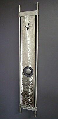 Large Modern Silver Pendulum Wall Clock - Contemporary Abstract Metal Wall Art